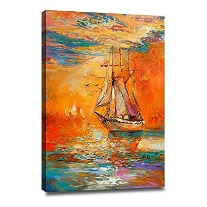 Amazon.com: DongLin Art-Golden Sailboat Wall Art Modern Abstract ...