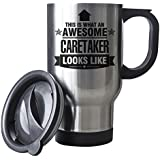 BLACK This is what an AWESOME Caretaker Looks like SILVER Mug - Gift idea work