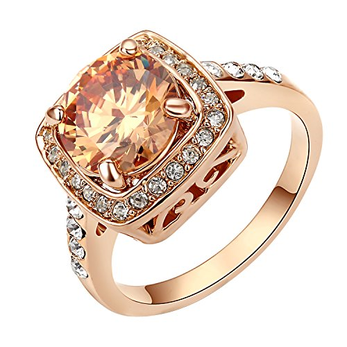 Yoursfs Halo Ring Rose GP Women Fashion Jewelry Yellow Stone Cocktail Vintage Amber Crystal Ring