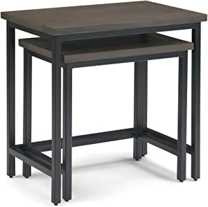 Simpli Home Skyler Solid Mango Wood and Metal 25 inch wide Rectangle Industrial 2 Pc Nesting Side Table in Walnut Brown, Fully Assembled, for the Living Room and Bedroom