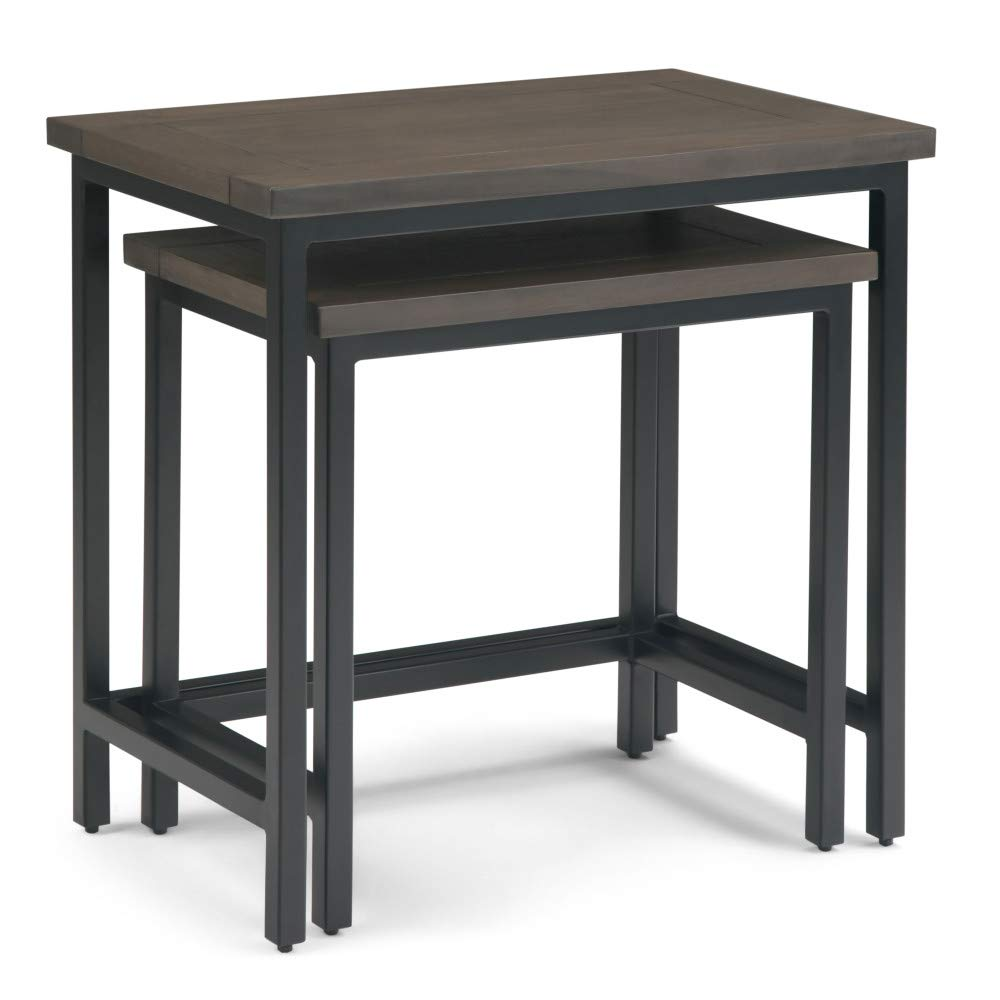 Simpli Home 3AXCSKY-06WB Skyler Solid Mango Wood and Metal 25 inch Wide Industrial 2 Pc Nesting Side Table in Walnut Brown, Fully Assembled by Simpli Home