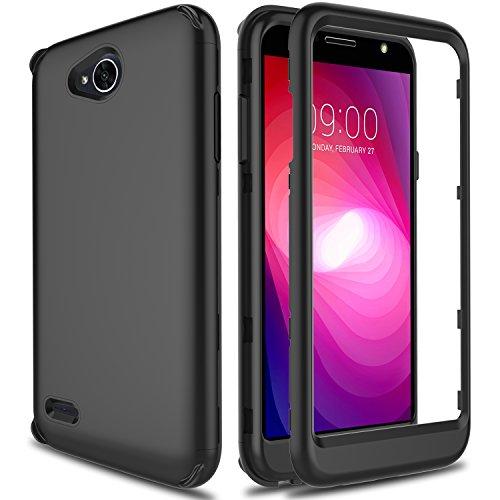 LG X Charge Case, LG Fiesta 2 LTE Case, LG LV7 Case, AMENQ [Impact Resistant] Hybrid Heavy Duty Shockproof Protective Rugged Armor Case Cover for LG K10 Power/LG L63BL/LG L64VL (Matt Black)