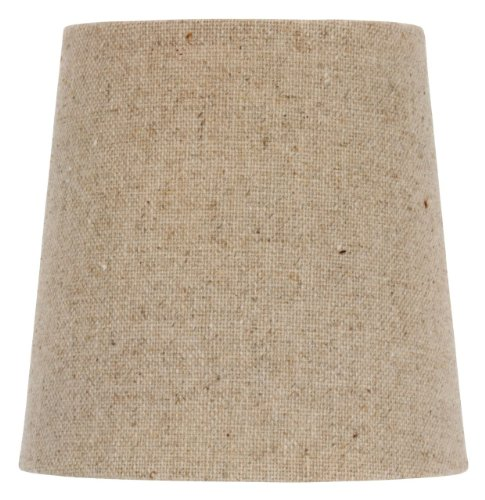 5 Inch European Drum Style Chandelier Lamp Shade Mini Shade Natural Belgium Linen (Pack of 6) ()