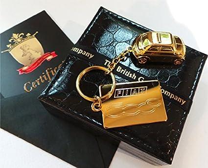 Puro 24 K oro terminado Fiat 500 llavero llavero en oro de ...
