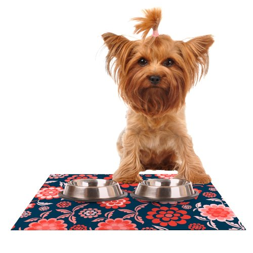 Kess InHouse Nicole Ketchum Cherry Floral Midnight  Feeding Mat for Pet Bowl, 18 by 13-Inch