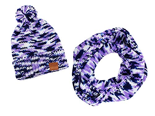 Crush Knit Hat and Scarf Set with PomPom- Purple