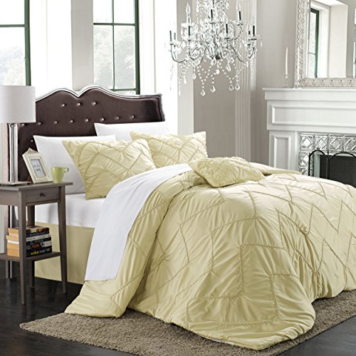 Chic Home Isabella 5-Piece Comforter Set, Queen, Champagne