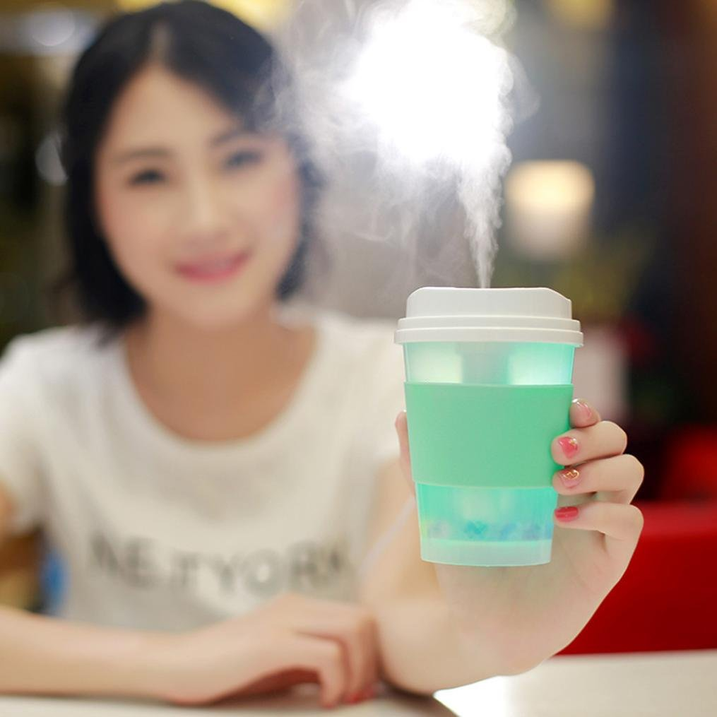 Coerni 300ml Cute Milk Cups USB LED Glowing Humidifier Essential Oil Diffuser for Car, Office, Home (Green) by Coerni (Image #2)