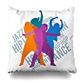 Soopat Decorative Throw Pillow Cushion Cover 20''X20'' Silhouettes Expressive Girls Dancing Modern Dance Jazz Funk Hip-Hop House Lettering Detailed Two Sides Printed Decorative Home Decor