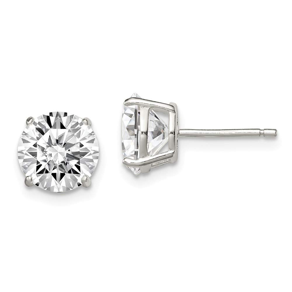 925 STERLING SILVER ROUND BASKET STUD EARRINGS 8MM ROUND LAB DIAMOND//STUNNING!