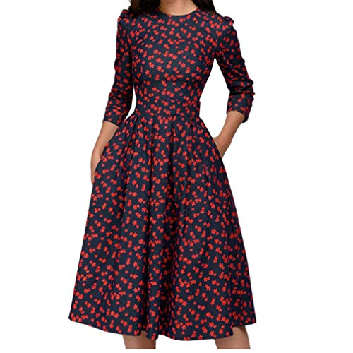 (Women's Floral Vintage Dress Elegant Midi Evening Dress 3/4 Sleeves)