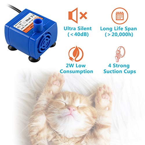 Veken Pet Fountain, 84oz/2.5L Automatic Cat Water Fountain Dog Water Dispenser with 3 Replacement Filters & 1 Silicone Mat for Cats, Dogs, Multiple Pets, Blue