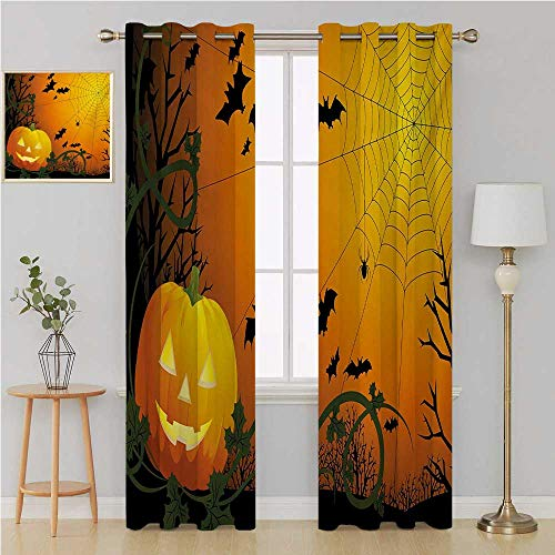 Benmo House Spider Web Gromit Curtains Waterproof Window CurtainHalloween Themed Composition with Pumpkin Leaves Trees Web and Batsdoorway Curtain 108 by 84 InchOrange Dark Green Black -