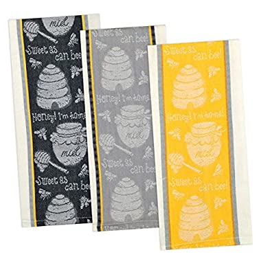 Set of 3  Sweet As Can Bee  Cotton Jacquard Kitchen Towels (one each - gray, yellow, black)