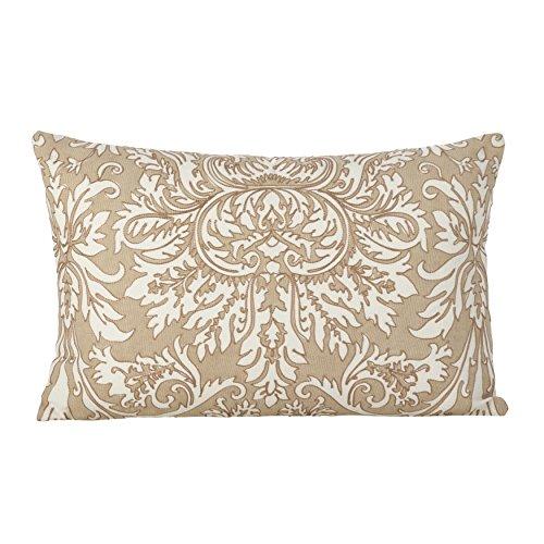 SARO LIFESTYLE 0005.GY1220B Stitched Medallion Design Cotton Down Filled Throw Pillow/0005.Gy1220B, 12