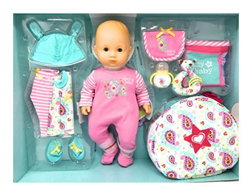 American Girl Bitty Baby 15 inch Doll Deluxe 12 Piece Set, Light Skin/Blue Eyes/Blond Hair