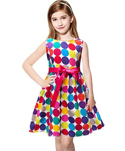 Abalaco Girls 100% Cotton Colorful Polka Summer Sleeveless Sundress Tutu Dress 2-8T