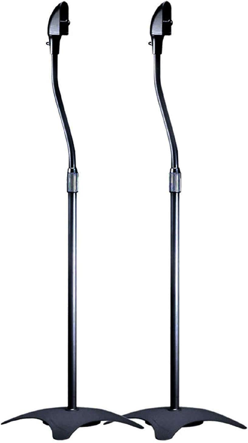 Monoprice 1030225 lb. Capacity Speaker Stands - Black (Pair) Height Adjustable From About 26.8in to 43.3in