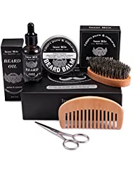 UPGRADED Beard Kit for Men Beard Growth Grooming & Trimming with Unscented Oil , Leave-in Conditioner, Mustache & Beard Balm Butter Wax, Beard Brush, Beard Comb, Sharp Scissors Gift Set