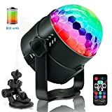 MUEQU LED Party lights Battery Disco Light,USB Charge Rotating Disco Ball Sound Activated Strobe Light LED Color Stage Lights DJ Light for Festival Bar Club Party Car Decoration Light with Remote