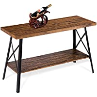 Sleeplace SVC30TB01S 30' Vintage Style Rustic Wood Sofa Table, Standard, Brown