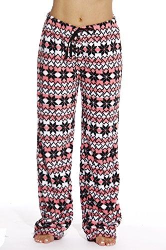 6339-10187-1X Just Love Women's Plush Pajama Pants - Petite to Plus Size Pajamas,Coral - Snowflake,1X Plus by Just Love