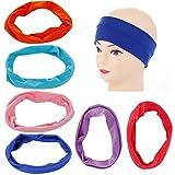 Amoretu Cotton Headbands for Women Stretch Sports Yoga Hair Sweat band 6 Pack