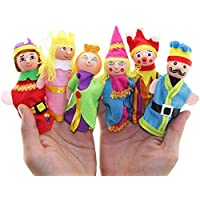 AWALS Glove Little Kingdom Wooden Finger Tips Puppets Royal Six Family Member with Different Character Stylish Cloths for Children |Finger Puppet for Kids |Puppet Toy | (Multi Color)