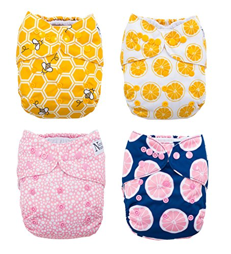 Organic Pocket Diapers - The Bee's Knees 4-Pack Cloth Pocket Diapers with 4 Bamboo Inserts