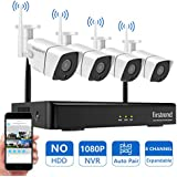 [2019 Newest] Firstrend 8CH 1080P NVR Security Camera System Wireless Easy Remote Surveillance Cameras System with 4pcs 1MP Video Home Security Cameras 65ft Night Vision, No Hard Drive