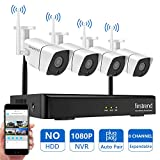 Cheap Security Camera System Wireless, Firstrend 8CH NVR Wireless Security Camera System with 4pcs 1080P Wireless Security Cameras Outdoors with 65ft Night Vision, No Hard Drive, Auto-Pair, Plug and Play