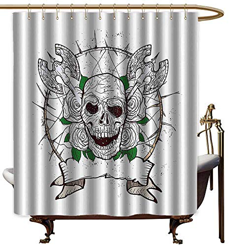 Shower Curtains for Bathroom Sets Pink Skull,Skull Figure with Nose and Axes Grunge Style Desgin Black Christmas Icon Scary Design,Multicolor,W69 x L72,Shower Curtain for Bathroom -