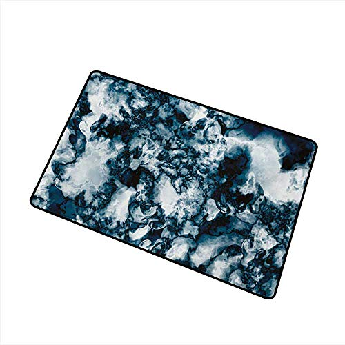 Modern Door mat Marble Unusual Gemstone Onyx Rock Nature Pattern with Vintage Paintbrush Effects W35 xL59 Anti-Fading