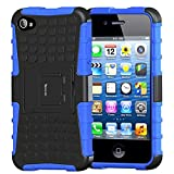 iPhone 4s Case,Apple iPhone 4 Case,Armor Heavy Duty Protection Rugged Dual Layer Hybrid Shockproof Case Protective Cover for Apple iPhone 4 4S with Built-in Kickstand (Blue)