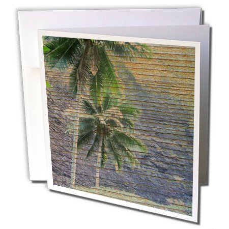 3dRose Wood Tropical Hawaii Palm Trees - Greeting Cards, 6 x 6 inches, set of 12 (gc_28039_2)