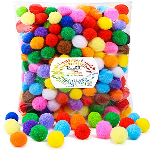 Caydo 300 Pieces 1 Inch Assorted Pompoms Multicolor Arts and Crafts Pom Poms Balls for Hobby Supplies and Creative Craft DIY ()