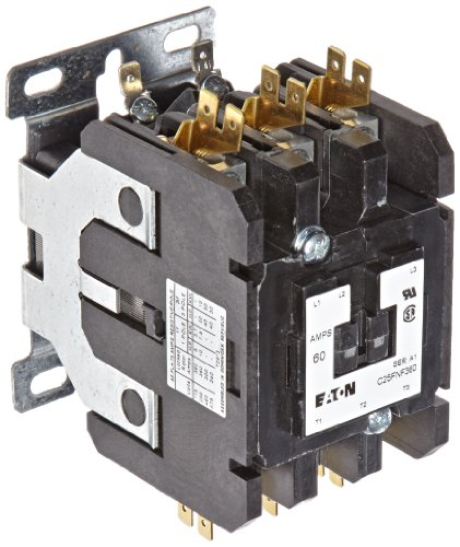 Contactor 480vac Pole Single Coil (Eaton C25FNF360A Definite Purpose Contactor, 50mm, 3 Poles, Box Lugs, Quick Connect Side By Side Terminals, 60A Current Rating, 5 Max HP Single Phase at 115V, 20 Max HP Three Phase at 230V, 40 Max HP Three Phase at 480V, 120VAC Coil Voltage)