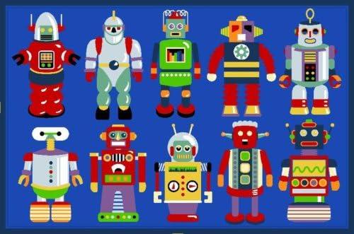 LA Rug Olive Kids Go Robots Rug 19 x29