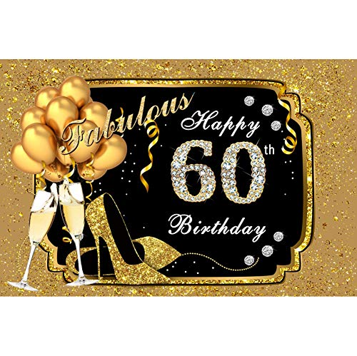 Yeele 10x8ft Vinyl Fabulous 60Th Birthday Backdrop for Photography Diamond Gold Balloons Heels Champagne Background Sixty Years Old Birthday Party Banner Decoration Photo Booth Shoot Studio Props (60 Champagne)