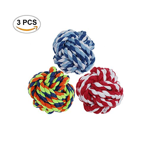 51Panda Dog Rope Toy Ball, 3 Pcs Bite Resistant Durable Teeth Cleaning Cotton Knot Pet Chew Weave Rope Ball for Small, Medium and Large Dogs (Color (Large Rope Knot Ball)