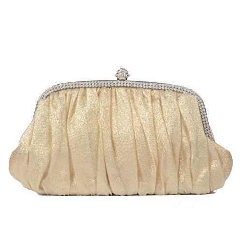 Evening LOOSLOON Satin Gold Clutch Cocktail Womens Envelope Handbag Party Pleated Vintage Wedding 7axS7