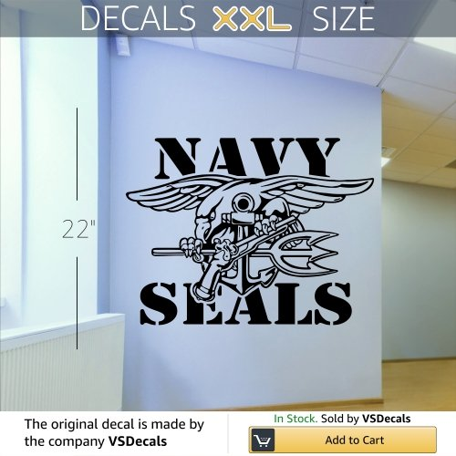 Vinyl Decal Mural Sticker Navy Seals Navy Seals Seal Trident Navy'S Sea, Air, Land Teams Special Operations Force 4046
