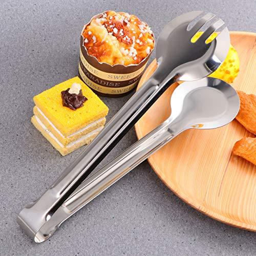 BESTONZON Brötchenzange Küche Rund Multifunktions-Edelstahl-Servierzange Buffet Food Clip für Steak Barbecue Salat Liefert