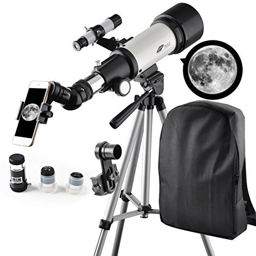 Solomark 70mm Apeture Telescope Travel Scope 400mm Az Mount - Good Partner to View Moon and Planet - Travel Scope with Backpack - Good Telescope for Kids