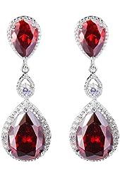 EVER FAITH® Silver-Tone Full Cubic Zirconia Birthstone Tear Drop Dangle Earrings
