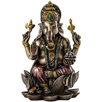 Top Collection Ganesh Statue Sitting on Lotus Pedestal - Lord of Success Sculpture in Premium Cold Cast Bronze with Colored Accents - 7.25-Inch Collectible Hindu God Ganesha Figurine