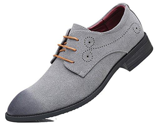 casuale Grigio Uomini Grande PU Inghilterra scarpe stile particolarmente Simple Uomo scamosciato Dimensione Pelle Extra 48 Bebete5858 Uvwqaa