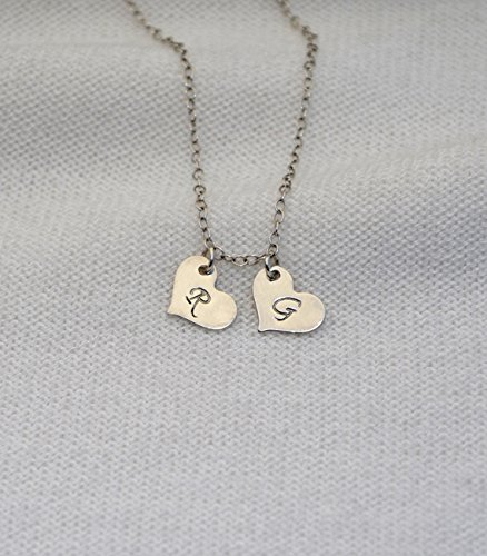 Silver HEART NECKLACE // Heart Charm Necklace - Personalized Necklace - Initial Heart Necklace - Initial Necklace - Monogram Heart Necklace