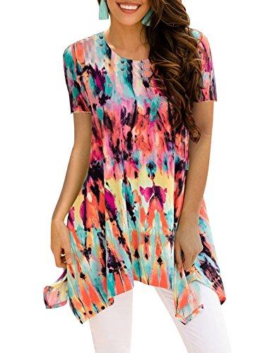 BOCOTUBE Womens Irregular Hem Printed Sleeveless Blouse Loose T-Shirt Tunic Tank Top