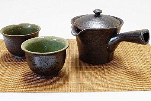 (Imari Japanese Raku Ceramic Tea Ceremony Set Kyusu Teapot with Strainer & 2 Sencha Cups Black)